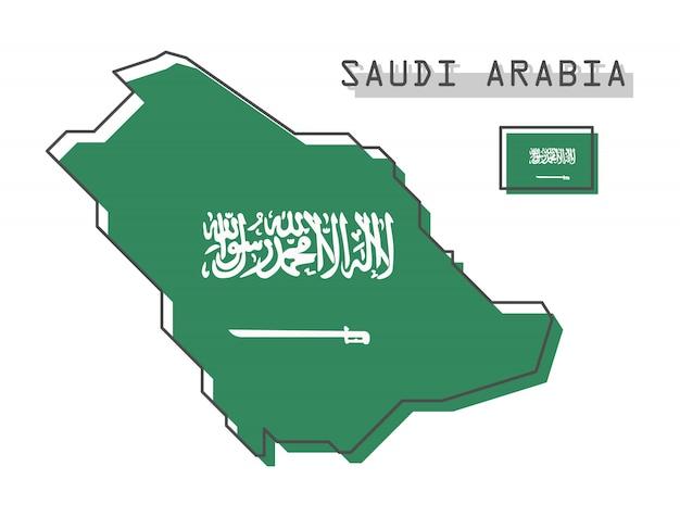 サウジアラビアマップとフラグ Premiumベクター