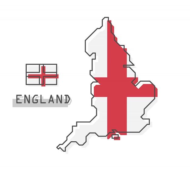 Карта и флаг англии Premium векторы