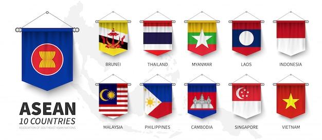 Асеан. ассоциация стран юго-восточной азии Premium векторы
