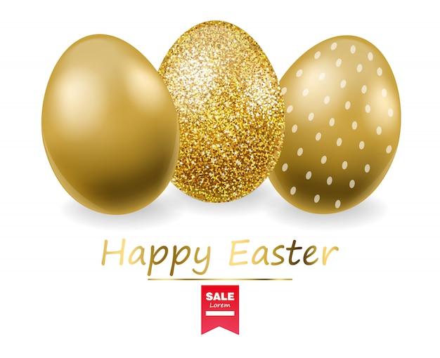 ハッピーイースター、現実的な卵セット、金色キラキラ卵バナー、白い背景 Premiumベクター