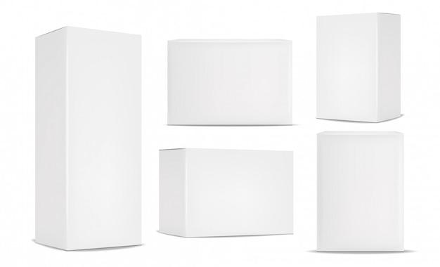 ホワイトボックスパッケージセット、現実的な分離 Premiumベクター