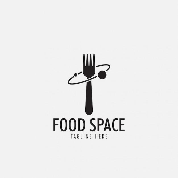 食品スペースのロゴ Premiumベクター