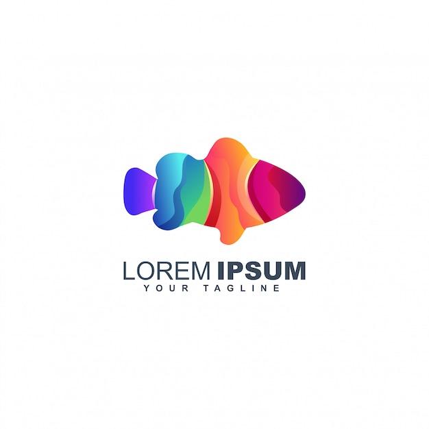 Шаблон дизайна логотипа разноцветных рыб Premium векторы