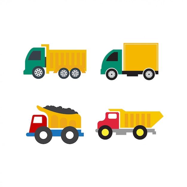 分離されたトラックアイコンデザインテンプレートベクトルのセット Premiumベクター