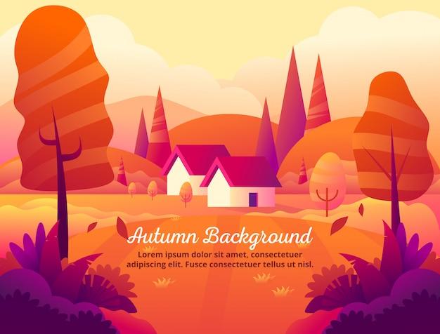 秋のオレンジ色の背景ベクトルイラストの美しさ Premiumベクター