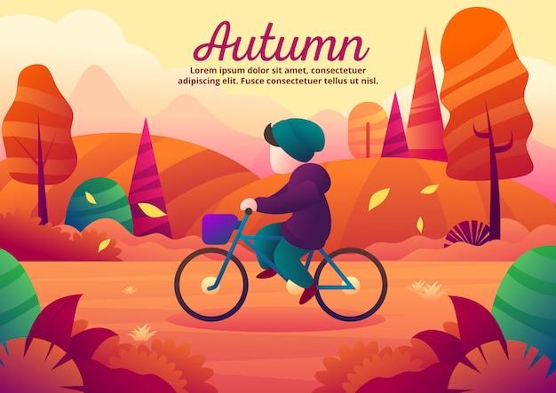 秋のシーズン中に一人でサイクリングベクトルイラスト Premiumベクター
