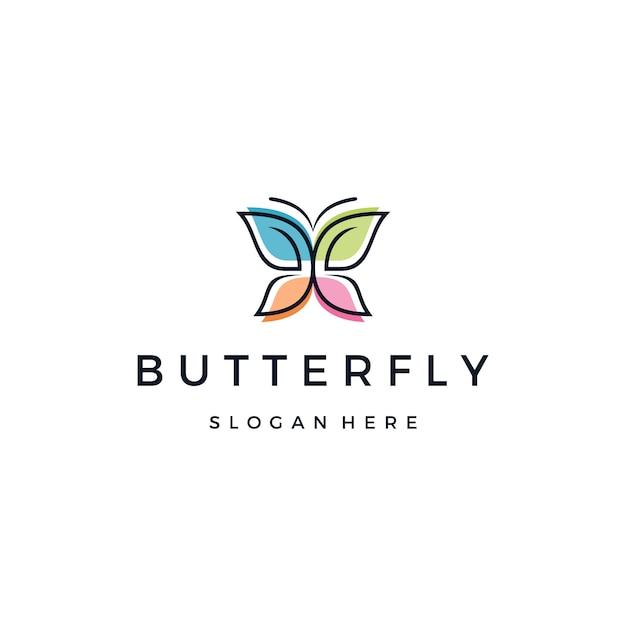 美しい蝶または君主のロゴ Premiumベクター