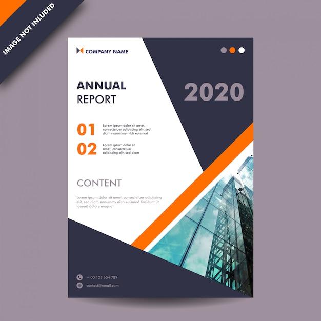 Годовой отчет темно-серого и оранжевого цвета и шаблон бизнес-печати на обложке Premium векторы