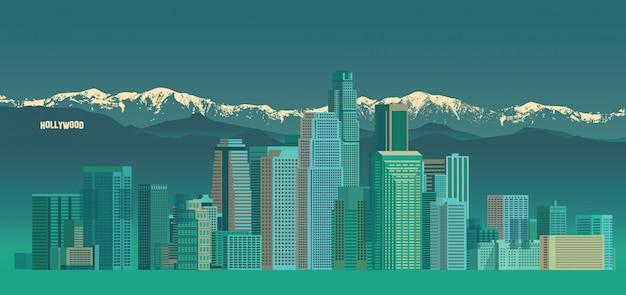 ロサンゼルスシティスカイライン Premiumベクター