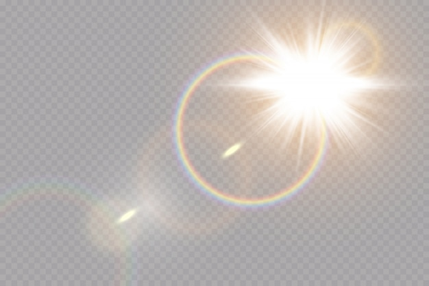 Свечение световой эффект. звездообразование с блестками на прозрачном фоне. солнце. Premium векторы
