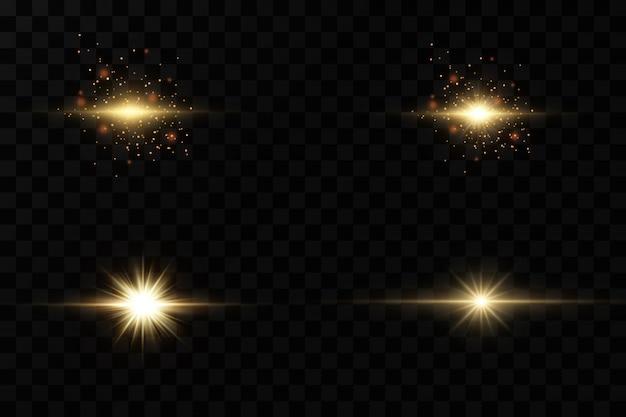 Набор желтого светящегося света взрывается на прозрачном фоне сверкающие магические частицы пыли. звезда взорвалась блестками. золотой глиттер яркая звезда. прозрачное сияющее солнце, яркая вспышка. Premium векторы