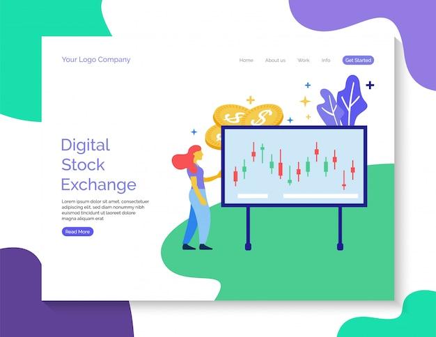 Шаблон целевой страницы. цифровая фондовая биржа вектор для веб-сайта. Premium векторы