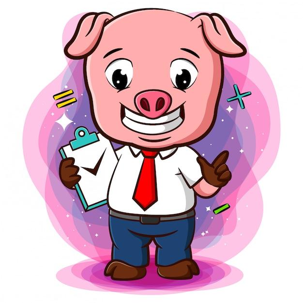 チェックリストとやることリストが付いた豚用スタンド Premiumベクター