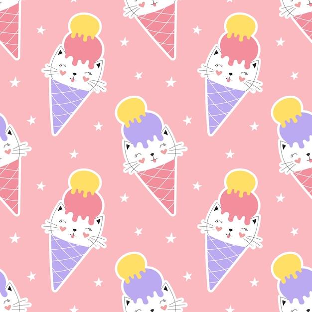 アイスクリームコーンのかわいいシームレスパターン甘い子猫。 Premiumベクター