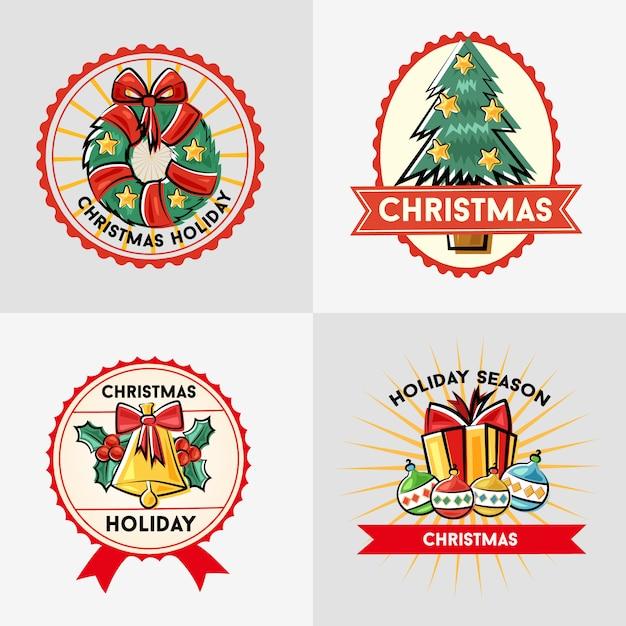 Рождественский праздник сезон стикер значок каракули Premium векторы