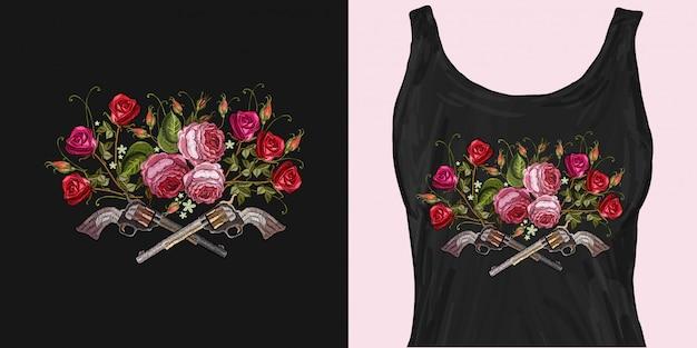 刺繍クロスガンとバラ Premiumベクター