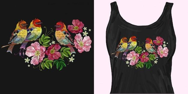刺繍鳥と野バラ Premiumベクター
