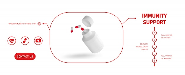 Бутылка пустой пластиковой упаковки медицины открытая с крышкой для изолированных таблеток. био добавки или витамины. реалистичная пластиковая бутылка. шаблон. аптека, таблетки, таблетки. Premium векторы