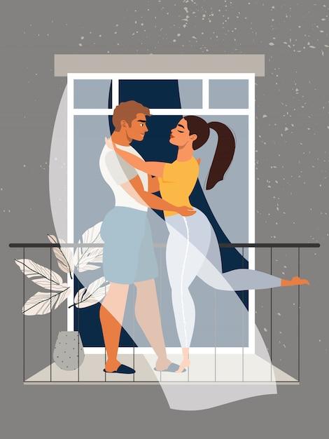 バルコニーで抱き締めるカップル。愛のカップル。隔離と自己分離の概念。パンデミックの最中に家にいる家族。ウィンドウで美しいカップル。バルコニーに立っている男女。 Premiumベクター