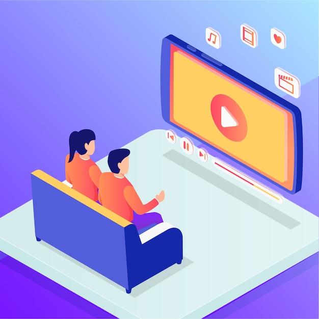 カップルの男性と女性がオンラインでホームエンターテイメント映画を見て Premiumベクター