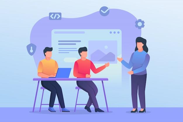 Обсуждение команды разработчиков и программистов и совместное обучение в офисе Premium векторы