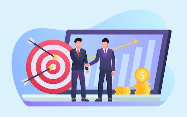 モダンなフラットスタイルのビジネスパートナーハンドシェイク契約パートナー Premiumベクター