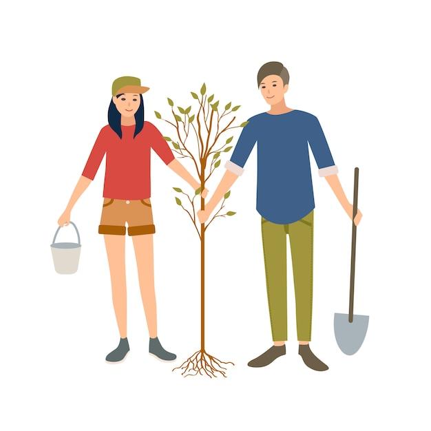 Пара молодых веселых мужчин и женщин-добровольцев или эколог, посадить дерево в парке вместе Premium векторы