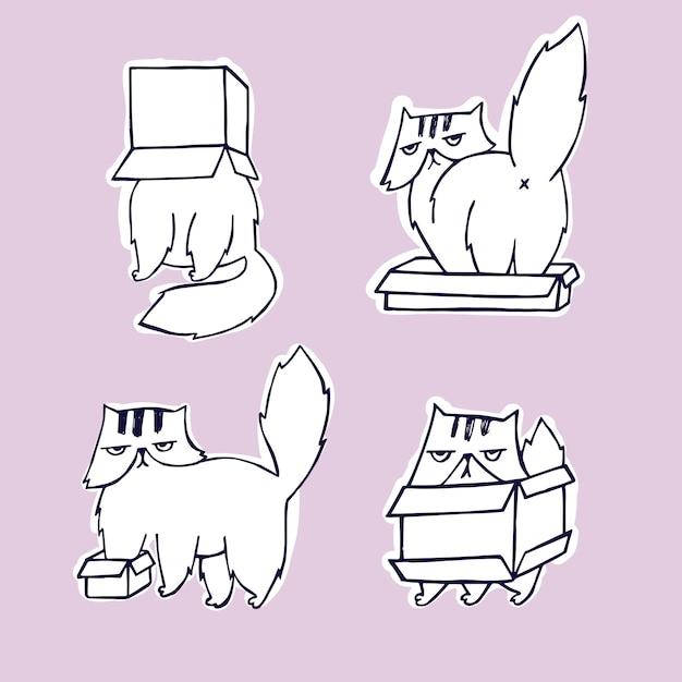 ボックスセットの面白い、怒っているキャラクター猫。 Premiumベクター