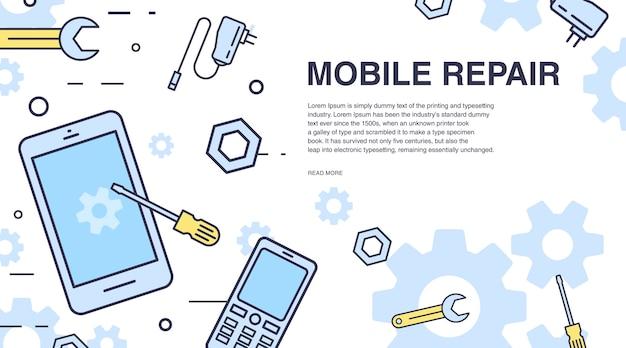 Концепция ремонта мобильных телефонов. горизонтальный баннер с смартфон и инструменты. Premium векторы