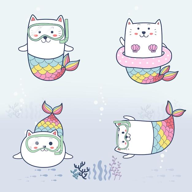 かわいい猫の人魚漫画手描き海の下でのダイビング Premiumベクター