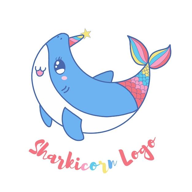 子供のためのかわいいサメのユニコーンのロゴ Premiumベクター