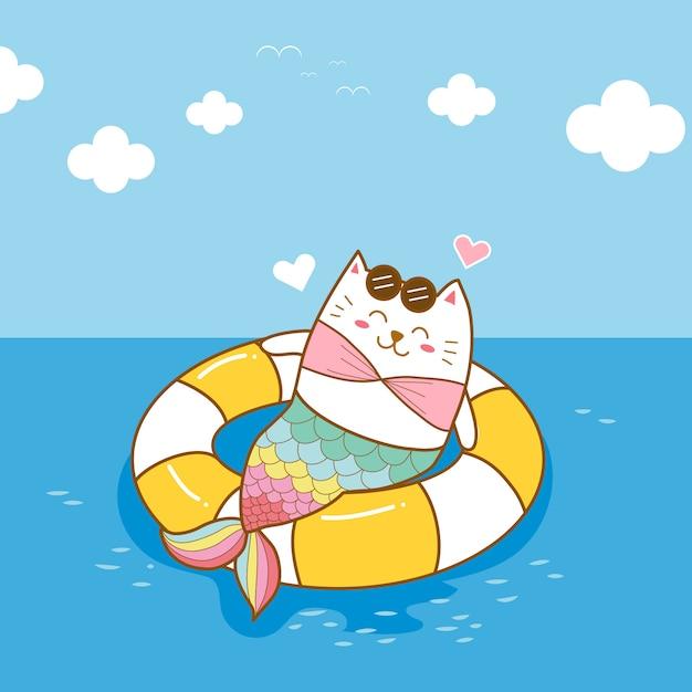 Милая кошка русалка носить плавать кольцо на море мультфильм ничья рука Premium векторы
