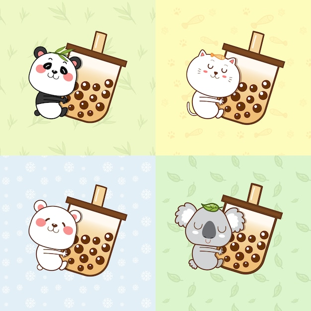 Милая панда, кот, белый медведь, коала, обнимающая пузырчатую чайную чашку. Premium векторы