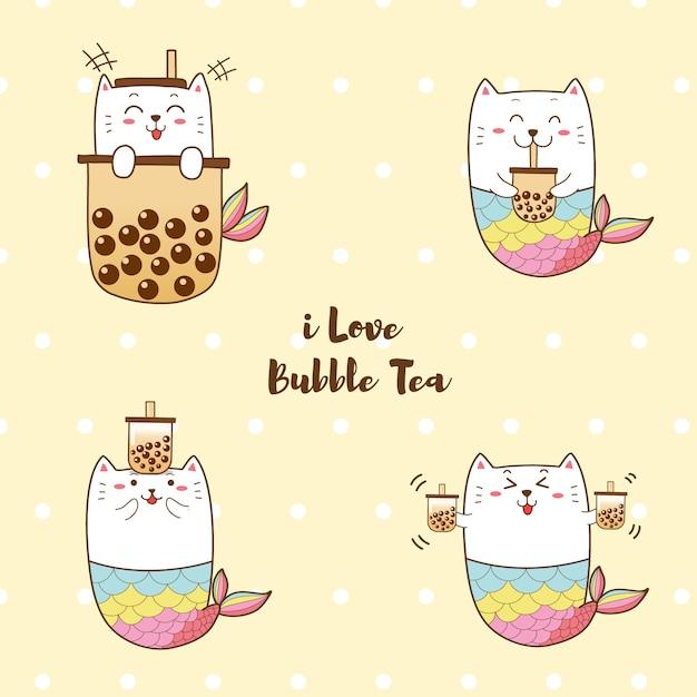 Милая кошка русалка с пузырчатым молочным чаем Premium векторы