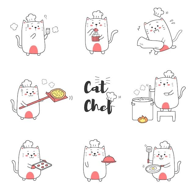 Милый кот шеф-повар приготовления мультфильма рисованной для малыша. Premium векторы