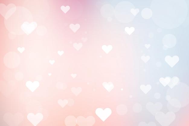 Абстрактный фон боке с сердцем на день святого валентина Premium векторы