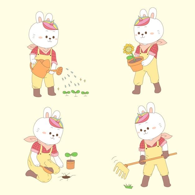 Милый кролик единорог садоводство на весну Premium векторы