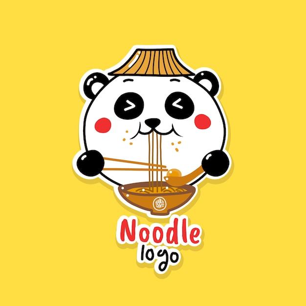 Милая панда ест лапшу Premium векторы