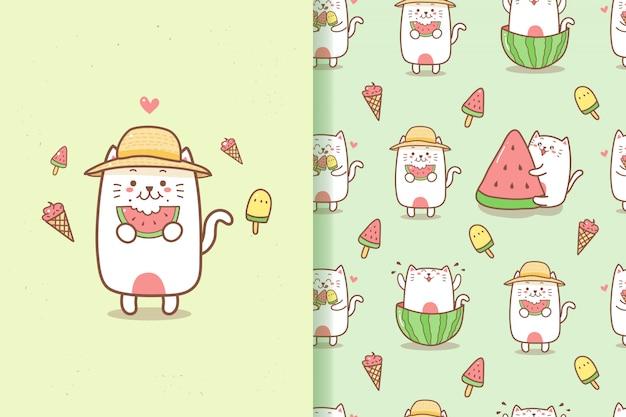 Милый кот мультфильм лето бесшовные модели едят арбуз и мороженое Premium векторы