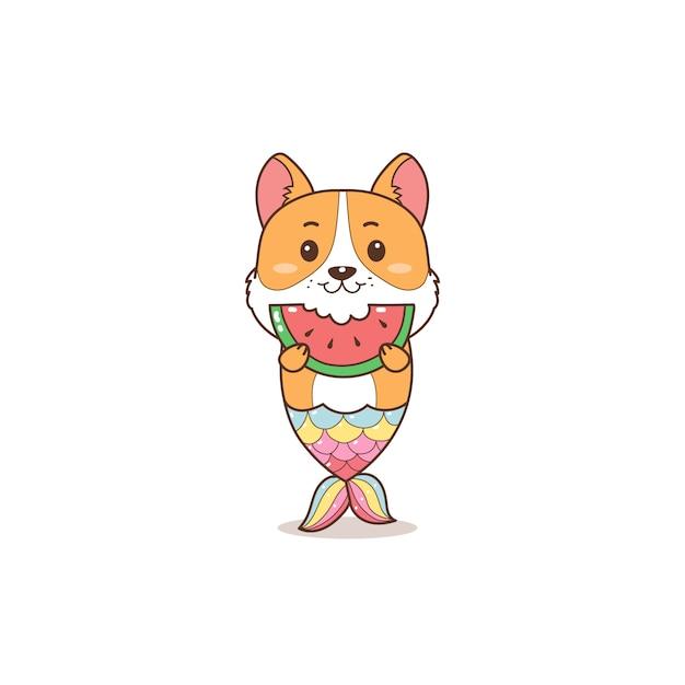 Милая корги русалка ест арбуз летний мультфильм Premium векторы