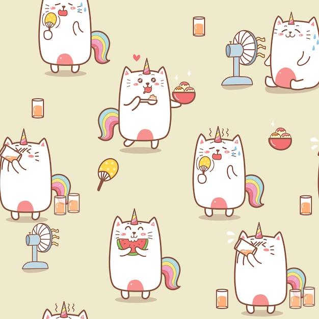 かわいい猫ユニコーン夏漫画シームレスパターン。 Premiumベクター