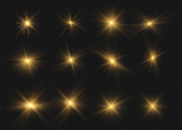 Свечение изолированные белый прозрачный световой эффект набор, блики, взрыв, блеск, линия, солнечная вспышка, искра и звезды. абстрактный дизайн элемента спецэффекта. сияй луч с молнией Premium векторы