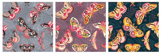 Бесшовные летающие ночные бабочки, бабочки. цвет бабочки, мотылек, цветочные элементы, рисованной. Premium векторы