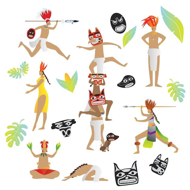 Майя цивилизации коренных племенных людей Premium векторы