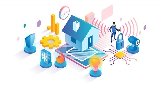 Умный дом технологии изометрической концепции Premium векторы