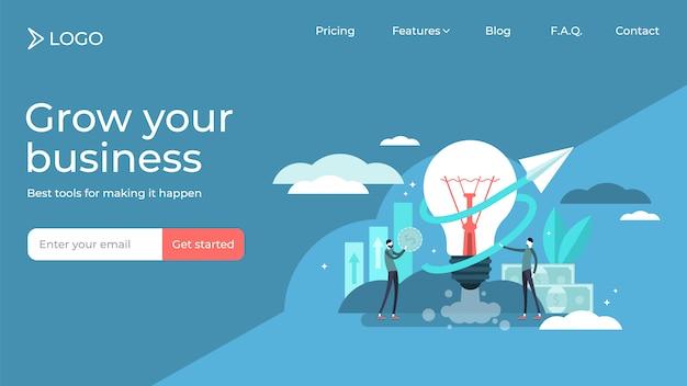 ビジネスアイデアフラット小さな人ベクトルイラストランディングページテンプレートデザイン Premiumベクター