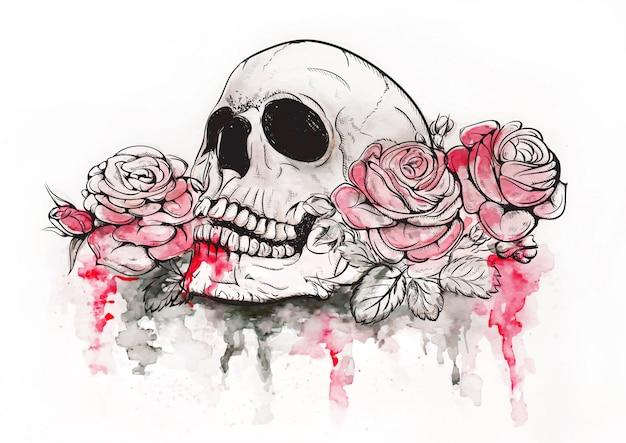 Череп с розами Premium векторы