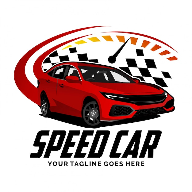 スピードメーターのロゴデザインのインスピレーションを持つスピードカー Premiumベクター