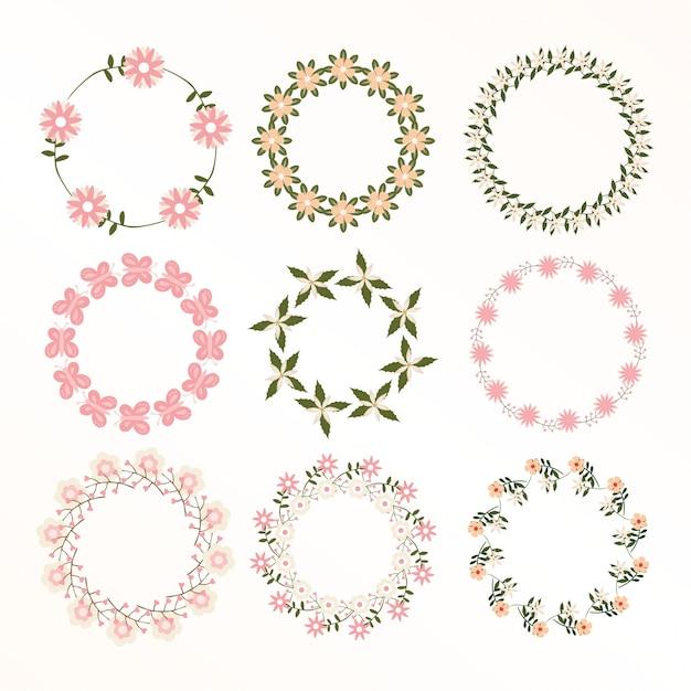 花のフレームコレクション。かわいいレトロな花の花輪のセット Premiumベクター