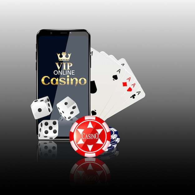オンラインモバイルカジノの背景。 Premiumベクター